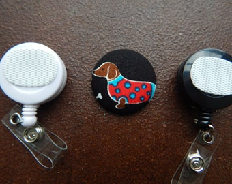 Fabric Covered Button for Clip on Retractable Badge Reel - Dachshund