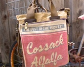 Cossack Alfalfa - Midwest - RARE -  Americana Vintage Seed Feed Sack Book Tote W- OOAK Canvas & Leather Tote .. Selina Vaughan