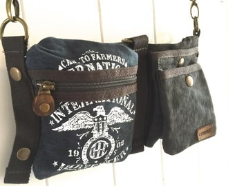 CASE IH Eagle Logo - Blue - Convertible Belt/Waist Bag Vintage seed sack W- Americana OOAK Canvas & Leather Bag Selina Vaughan Studios