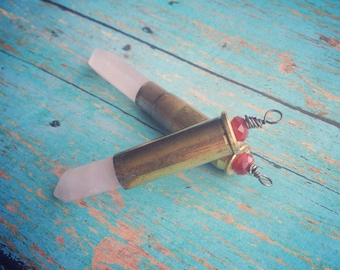 Bullet jewelry, .38 special bullet, rose quartz and garnet wire wrapped pendant
