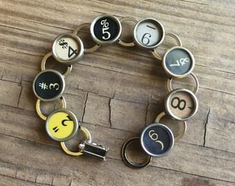 Typewriter Key Bracelet Vintage Numbers