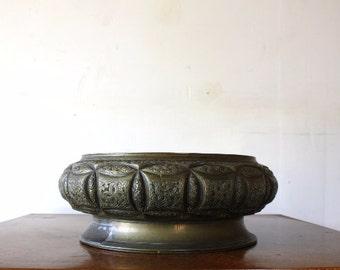 Large Vintage 1970s Brass Bowl Succulent Planter