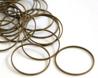 Wholesale 100pcs 25mm Antique Bronze Smooth Brass Rings EC18725-NFAB