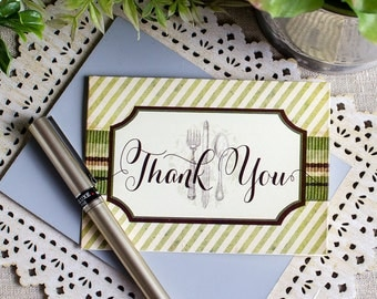 Thank You Notes set of 20 Vintage Silverware Foodie Thanks Leaf Green Chocoalte Brown