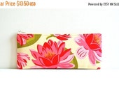 SALE Zipper Pouch Organizer, Cosmetic Case, Makeup Bag, Women and Teens, Blush Water Lily, Sandi Henderson Ginger Blossom
