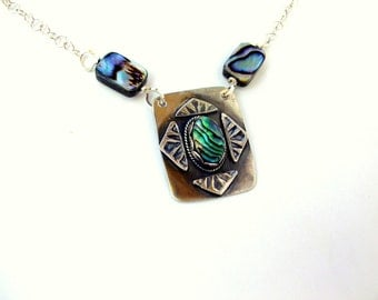 Sale Abalone Sterling Silver Handmade Necklace Silver Abalone Stamped Pendant With Chain