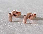 5mm x 2mm Small Rose Gold Bar Stud Earrings 14k Gold Bar Earrings by Susan Sarantos