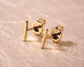 7mm x 1mm 18k Yellow Gold Bar Stud Earrings Minimalist 18k Gold Line Studs Newport RI Jewelry by Susan Sarantos