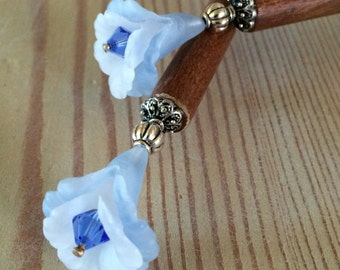 Blue Trumpet Flower Hair Sticks