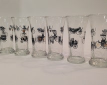 Libbey Glass Curio Antique Car Glasses ~ Libbey Glass Low Ball ~ Antique Car Motif ~ Fluted Glasses ~ Retro Libbey Glasses~ Lowball Set