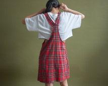 red tartan plaid jumper dress / mini red overall dress / mini jumper / s / 1905d
