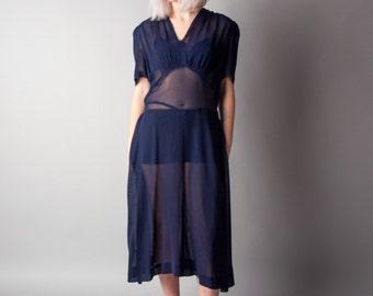 bixby bridge 1930s midnight blue sheer dress   sheer tea dress / m / 1693d