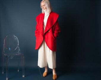 canyon land red oversized collar coat / minimalist coat / vintage 80s wool coat / s / 1004o