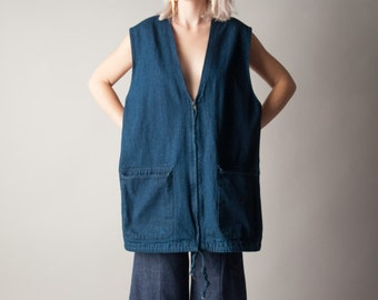 zabriskie point denim oversized vest tunic / deep v vest / oversized jean vest / m / 1734d
