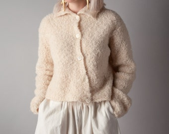 tale of winter cream mohair boucle cardigan sweater / cream nubby sweater / cropped asymmetric top / s / 1363t