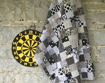 Mr. Rochester Farmhouse Quilt.  Black and White and Gray Large Throw. Charming