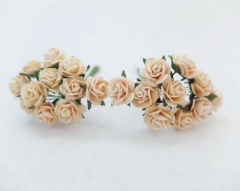 20 10mm light peach paper roses - 1cm paper roses with wire stems