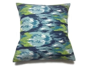 Decorative Pillow Cover Ikat Design Blue Lime Green White Same Fabric Front/Back Toss Throw Accent 18x18 inch x