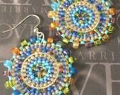 Small Beaded Earrings - Sea Glass Multicolored Disk Earrings