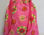 Eco Friendly Reuseable Drawstring Tote Baby Toddler Kid Bag - Multi Color Shapes on Pink Fabric