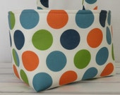 Easter Fabric Candy Egg Hunt Basket Bucket Storage Organizer - Jumbo Dots -PERSONALIZED/Name Tag Available - See Note in Listing