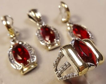 Two Tone Jewelry Set, Sterling Silver and 9K Gold Ring, Earrings & pendant Size7