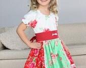 Girls twirl dress, peasant dress, red green white dress, floral dress, christmas dress, holiday season, spring dress, everyday dress Size 5
