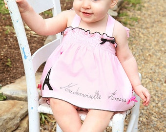 Personalized baby girl outfit, Paris outfit, Eiffel tower, pink black outfit, birthday outfit, halter top bloomer set, baby shower, easter