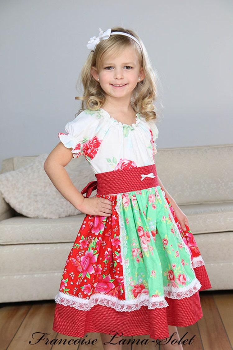 Girls Twirl Dress Peasant Dress Red Green By