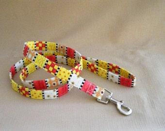 Stripes and checks yellow rose - Dog Leash