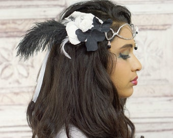 Vintage Style Flower Crown, Art Deco, Mucha Insprired Floral Headpiece, Black and White, Circlet, Boho, Fantasy, Costume, Cosplay, Crown