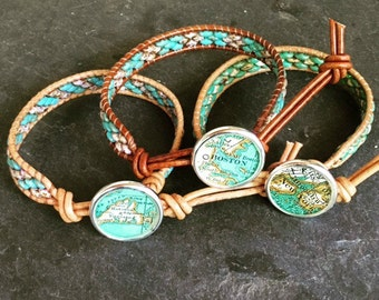 Custom Map Bracelet City Leather Wrap Beaded  Vintage Atlas Button Globe