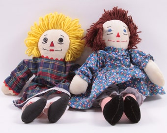 Raggedy Ann Anne Dolls Blonde and Hand Made Vintage Eclectic Plush Dolls ~ The Pink Room ~ 160908