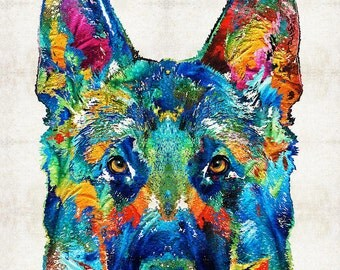 German Shepherd Art Colorful PRINT from Painting Rainbow Dog Pets Doggie Pet Pop Police CANVAS Ready To Hang Large Fun Funny Love Animal