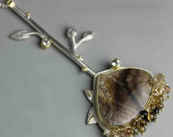 Fossil Sequoia Embellished Branch Necklace