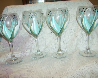 WIne Glasses goblets Large  Tear drop, white and  turquoise. Hand painted.