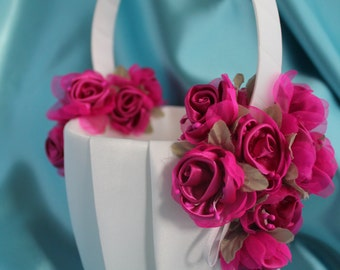 SALE-Ivory or White Flower Girl Basket with Fuchsia Satin and Organza Flowers