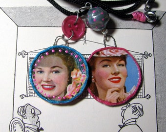 Mixed Media Collage Pendants Necklace Handmade Vintage Card Sharkettes Playing Card Jewelry 1950s Round Pendants Original one of a kind