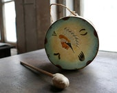 1930s Hand Painted Indian Head Tom Tom Drum
