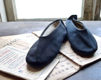 1930s Occupied China Asian Slipper Shoes Leather Soles