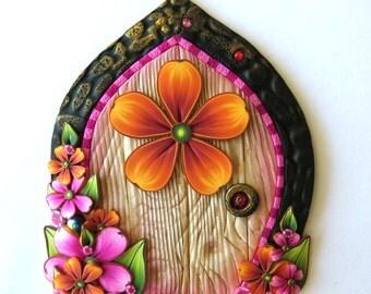 Orange and Pink Flower Garden Fairy Door