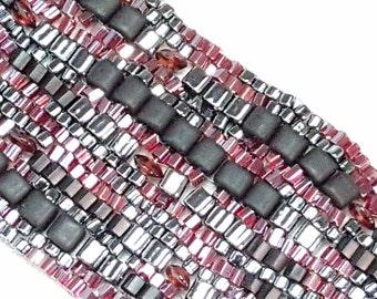 Garnet Glamour Freeform Peyote Sculptural Beadwoven Bracelet