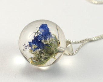 Blue Flower Necklace, Silver and Resin Jewellery, Romantic Necklace, Real Flower Resin pendant