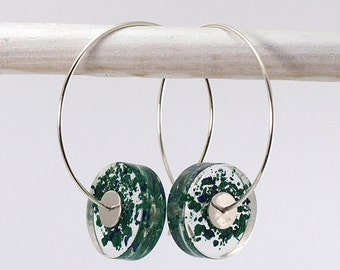 Navy Blue and Green Earrings, Alcee Azurite Resin Earrings, Malachite Earrings with Sterling Silver