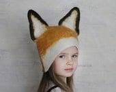 Fox Hat -- Hand Felted Wool -- Size Medium/Large