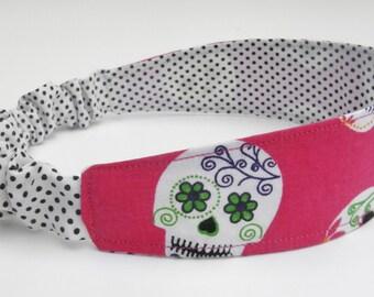 Sugar Skulls Headband, Reversible Headband, Polka Dot Headband, Black and White and Pink Head Band, Hair Wrap, Dia De Los Muertos Headband