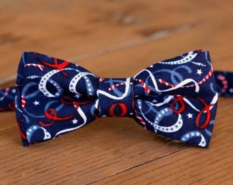 Mens Patriotic Bow Tie - 4th of July, red white blue bow tie for men - mens bow tie - cotton bow tie - summer bow tie - independence day tie
