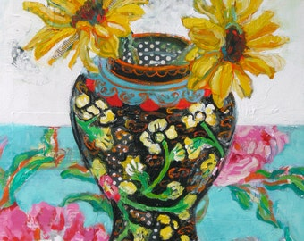 Sunflowers in a Ginger Jar 16 by 20 original contemporary mixed media still life painting by Polly Jones
