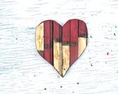 Red Mosaic Heart, Nursery Decor, Recycled Wood Wall Art, Reclaimed Wood Art Mosaic Wood Heart Country Decor Quirky Original Art Wooden heart