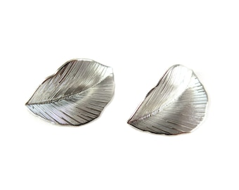 Rhodium Plated Bent Leaf Charms - Small (4X) (R261)